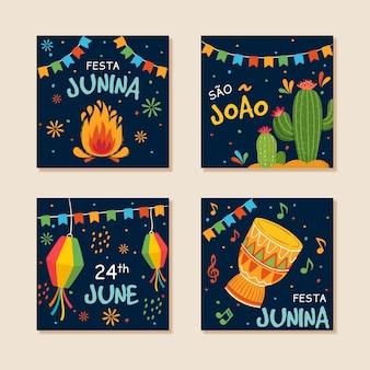 Coleção de cartão festa junina desenhada de mão