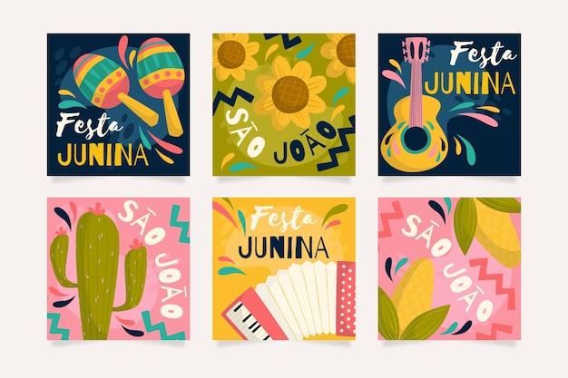 Coleção de cartão festa junina design plano
