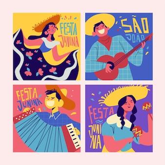 Coleção de cartão festival junho design plano