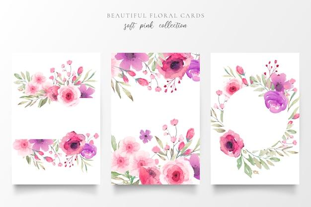 Coleção de cartão floral com flores em aquarela