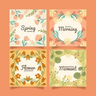 Coleção de cartão floral plano