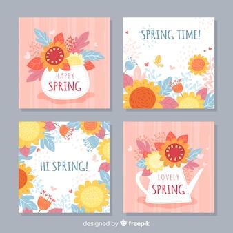 Coleção de cartão floral primavera