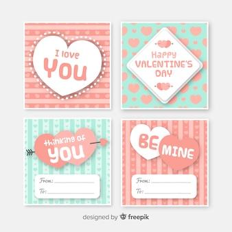 Coleção de cartão listrado de dia dos namorados