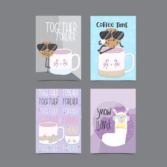 Coleção de cartão modelo para chá de bebê