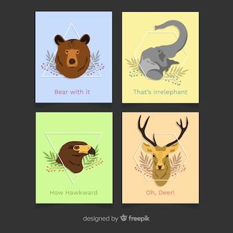Coleção de cartão plana animal selvagem