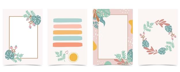 Coleção de cartão postal de criança com folha, sol. ilustração em vetor editável para site, convite, cartão postal e adesivo