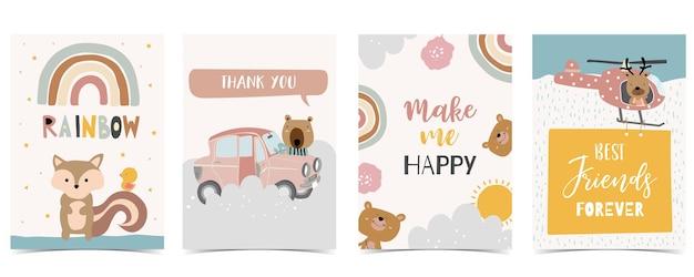 Coleção de cartão postal de criança com urso, arco-íris, sol. ilustração em vetor editável para site, convite, cartão postal e adesivo