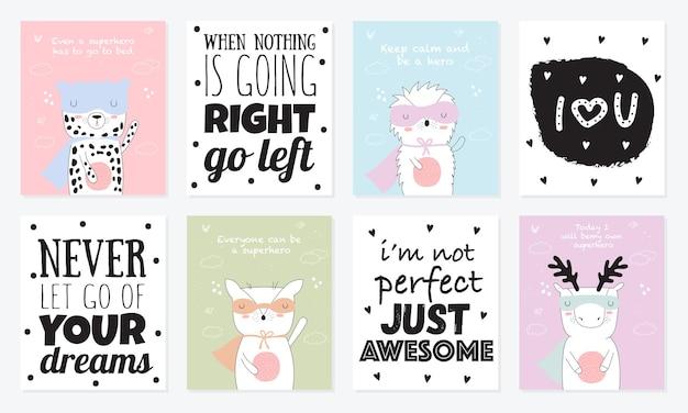 Coleção de cartão postal de vetor com animais de super-heróis e uma ilustração legal do slogan do doodle