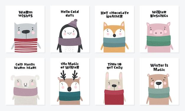 Coleção de cartão postal de vetor com animais fofos de inverno em roupas aconchegantes. ilustração de doodle
