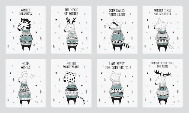 Coleção de cartão postal de vetor com animais fofos de inverno em um suéter aconchegante