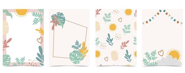 Coleção de cartão postal infantil com folha de sol