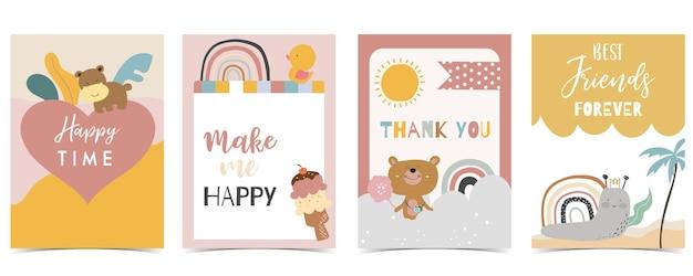 Coleção de cartão postal infantil com sol arco-íris de urso