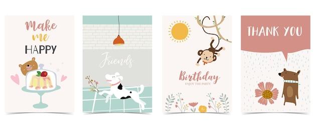 Coleção de cartão-postal infantil com sol de urso-macaco