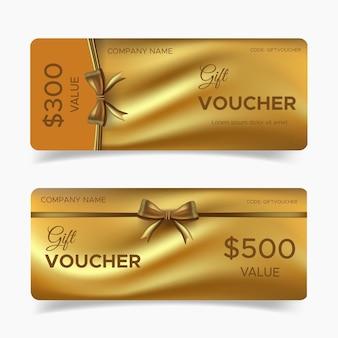 Coleção de cartão voucher dourado de luxo