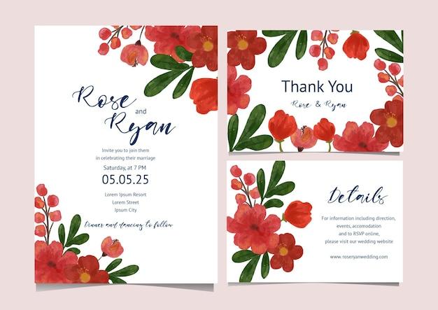 Coleção de cartas com tema floral vermelho