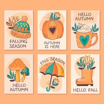 Coleção de cartas de outono desenhada à mão