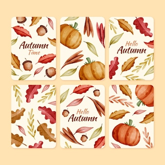 Coleção de cartas de outono em aquarela