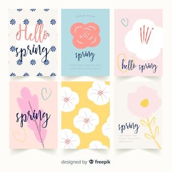 Coleção de cartas de primavera de letras