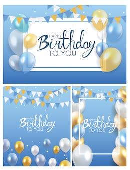 Coleção de cartaz de balões de feliz aniversário brilhante