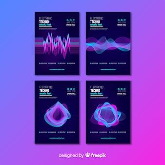 Coleção de cartaz de música eletrônica de som de onda