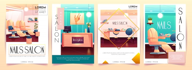 Coleção de cartaz de salão de unhas