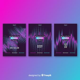 Coleção de cartaz de som wave