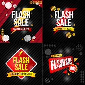Coleção de cartaz de venda de flash e banner