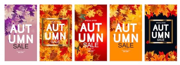 Coleção de cartaz de venda outono