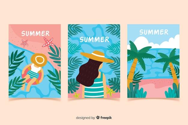 Coleção de cartaz de verão desenhada mão