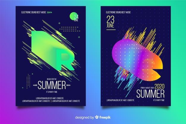 Coleção de cartaz do festival de música eletrônica