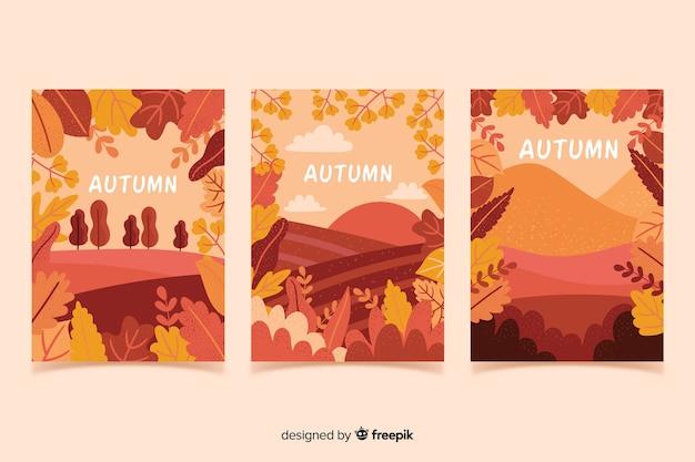 Coleção de cartaz outono desenhada de mão