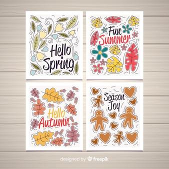 Coleção de cartaz sazonal desenhada de mão