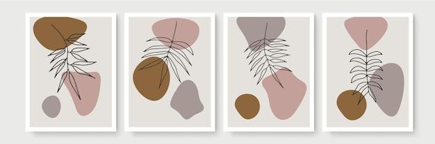 Coleção de cartazes boho botânica moderna abstrata. cartaz de arte de parede boêmia orgânica com formas abstratas em aquarela. cor pastel neutra, desenho de folhagem.