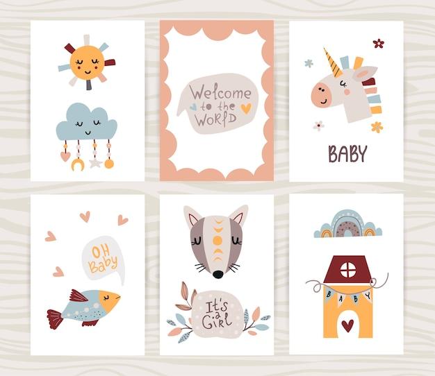 Coleção de cartazes de bebê recém-nascido.