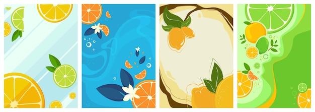 Coleção de cartazes de frutas cítricas.