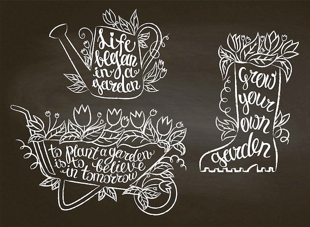 Coleção de cartazes de jardinagem contorno giz com citações inspiradoras no quadro-negro. jardinagem
