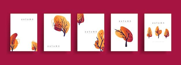 Coleção de cartazes de outono com banner de árvores em arte de linha, desenho com forma abstrata