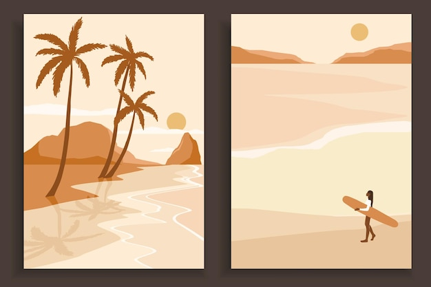 Coleção de cartazes de paisagem colorida abstrata. conjunto de modelos de impressão de praia de arte contemporânea.