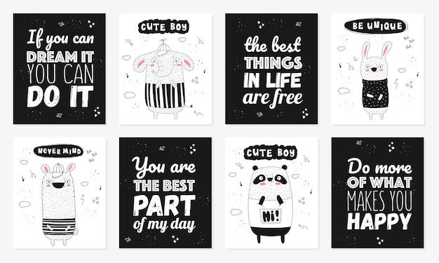 Coleção de cartazes de vetor com animais engraçados de desenhos animados e slogan moderno zoológico gráfico desenhado à mão