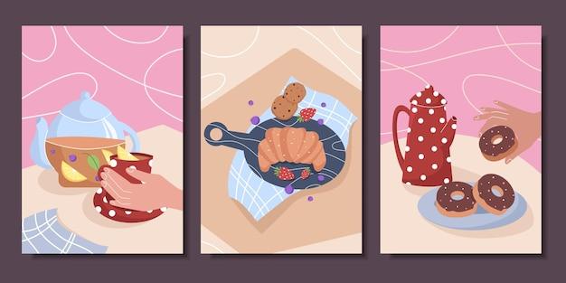Coleção de cartazes fofos com ainda vida chá café pastelaria croissant donuts