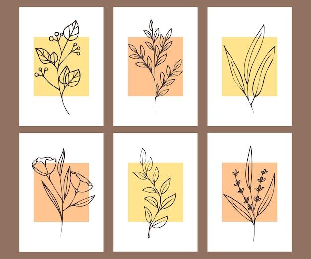 Coleção de cartazes minimalistas com plantas.