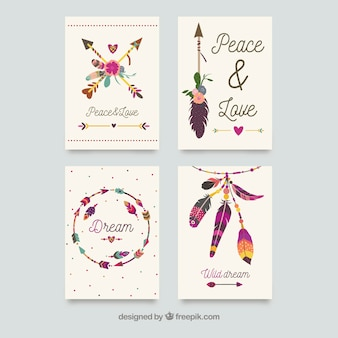 Coleção de cartões boho com elementos hippie