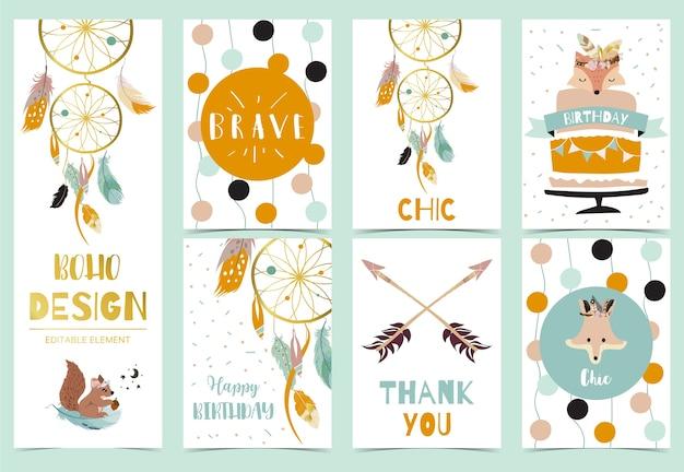 Coleção de cartões boho cravejado de pena, apanhador de sonhos, raposa.