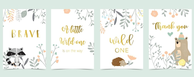 Coleção de cartões boho rosa com urso, selva, gambá, ouriço. ilustração vetorial para convite de aniversário, cartão postal e adesivo. elemento editável.