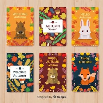 Coleção de cartões coloridos outono em design plano