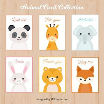 Coleção de cartões com animais bonitos
