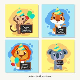 Coleção de cartões com animais comemorando aniversário