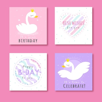 Coleção de cartões com animais em festa de aniversário