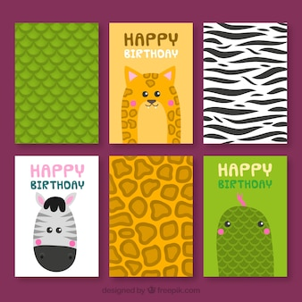 Coleção de cartões com animais selvagens e peles