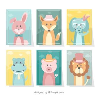 Coleção de cartões com animais vestidos